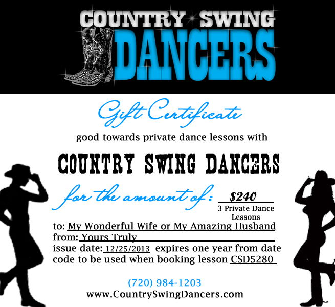 Country Dance Gift Certificates